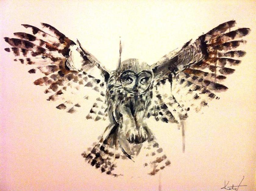 owl painting finished katy jade dobson