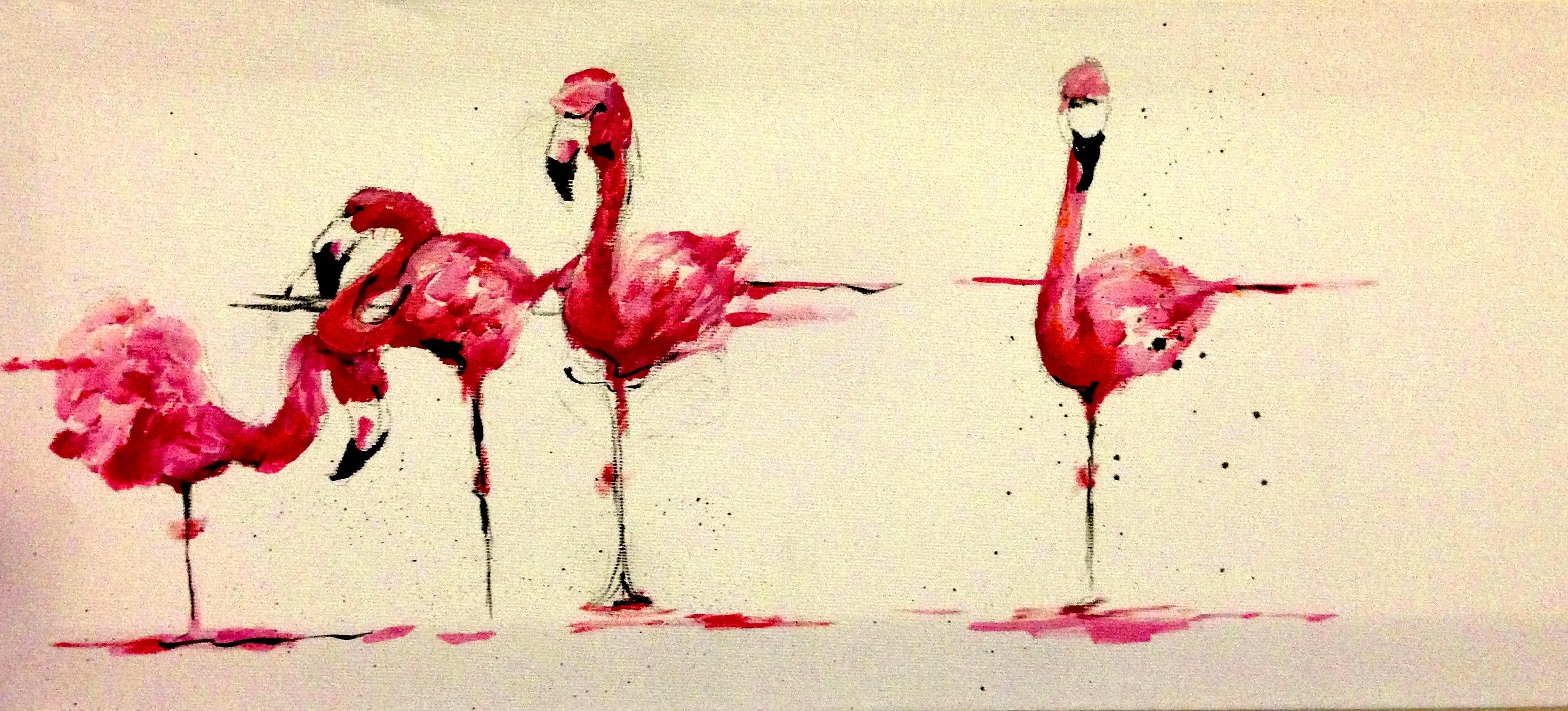 Drawing Lines With Oil Paint : Flamingo katy jade dobson art