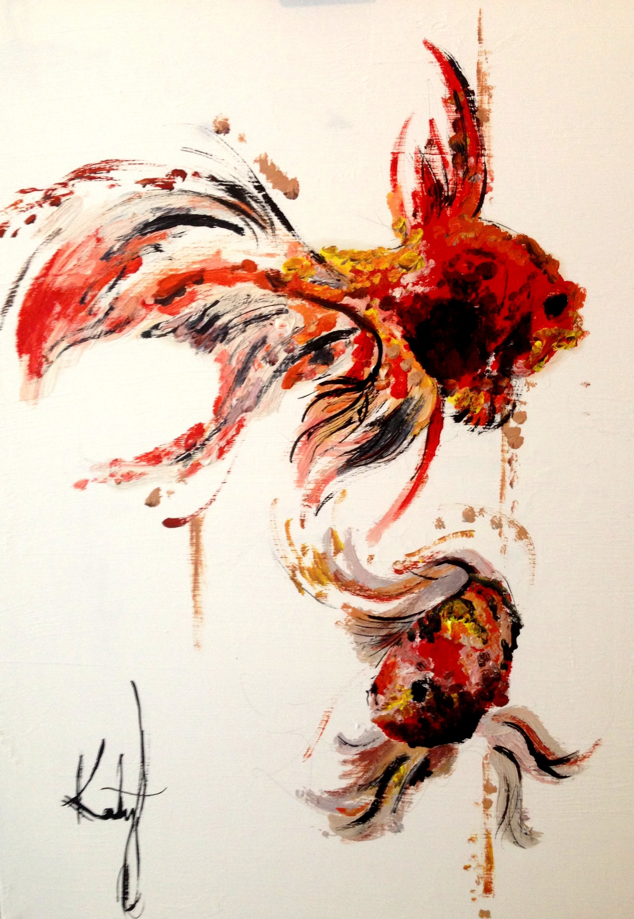 Goldfish katy jade dobson art for Easy fish painting