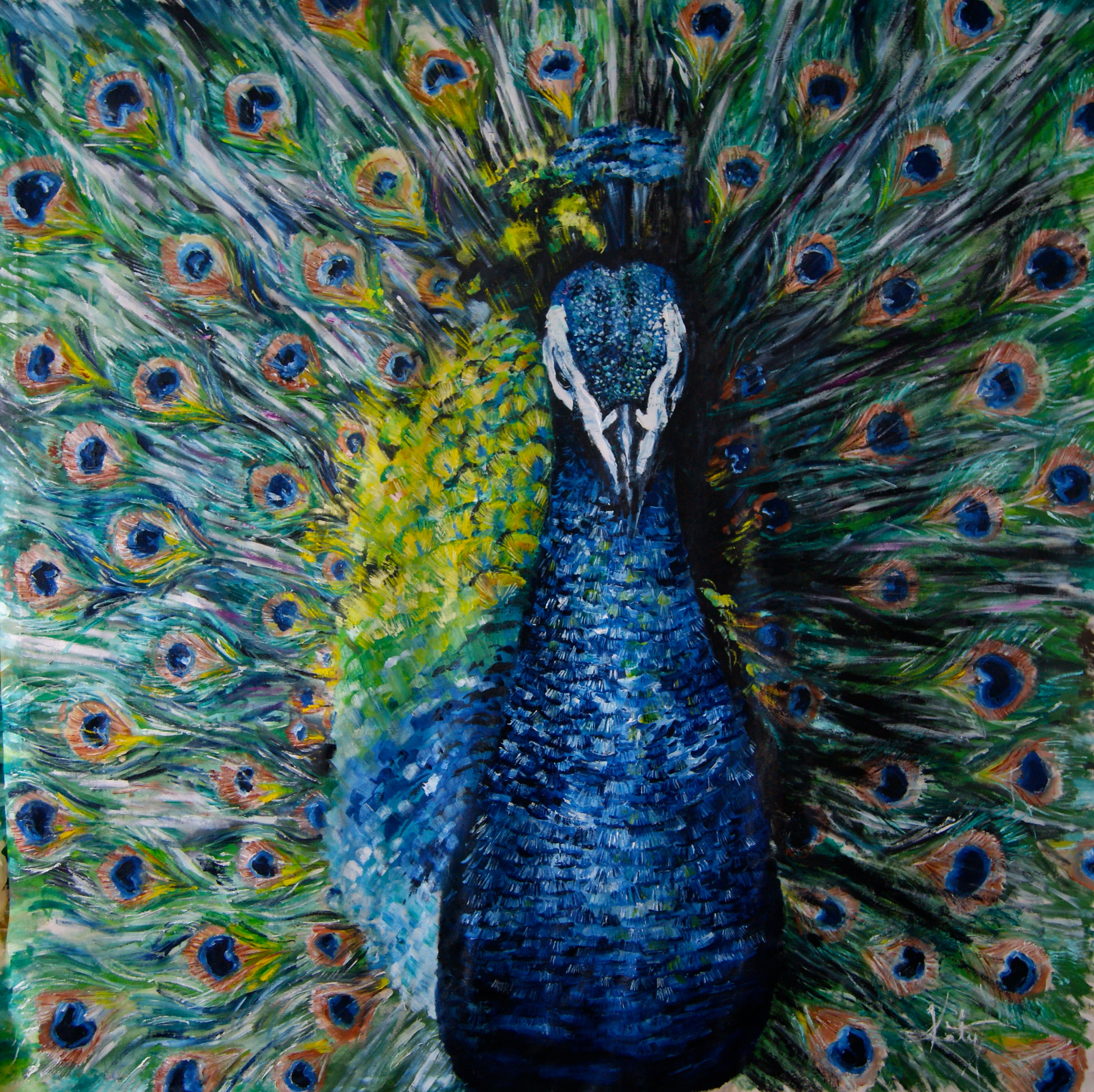 HUGE Peacock Oil Painting Finally FINISHED