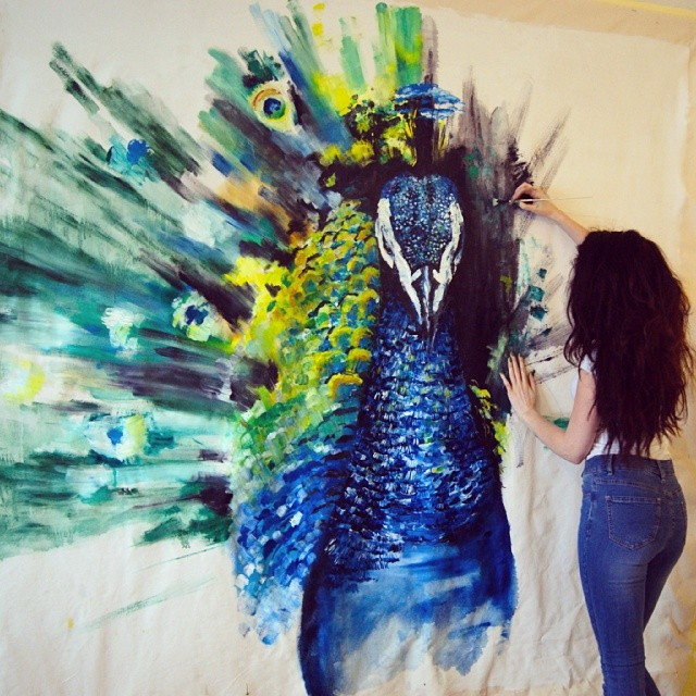 Huge Peacock Oil Painting The Beginning Katy Jade Dobson