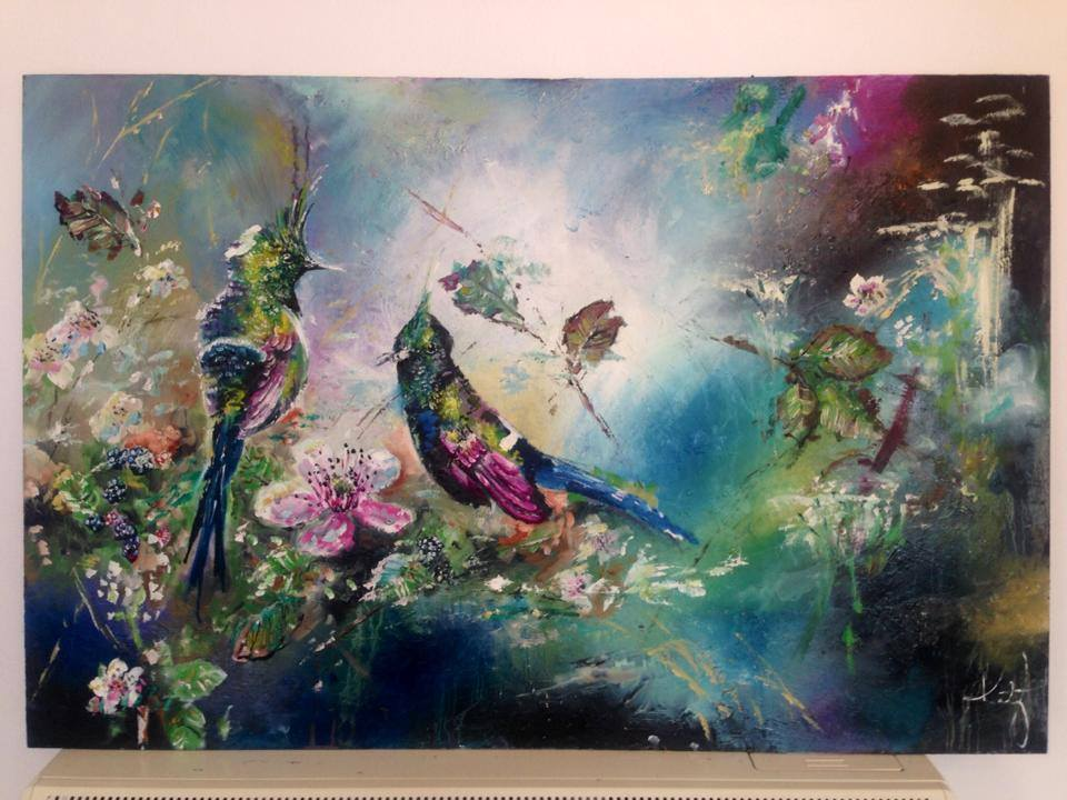Original oil painting for sale wire crested thorntails for Original oil paintings for sale by artist