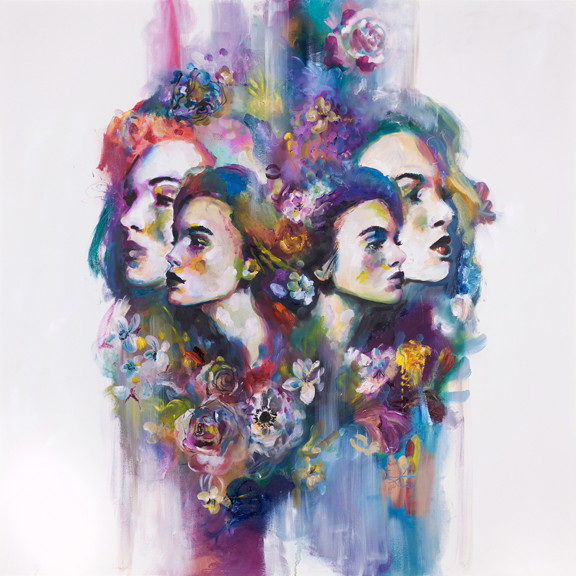 'Refract' An abstract piece based on the idea of light refracting in a prism, breaking down the colours and the subject viewed through the glass into multiple peripheral states. The colours and the florals are painted from an impressionist stance as hints and suggestions.