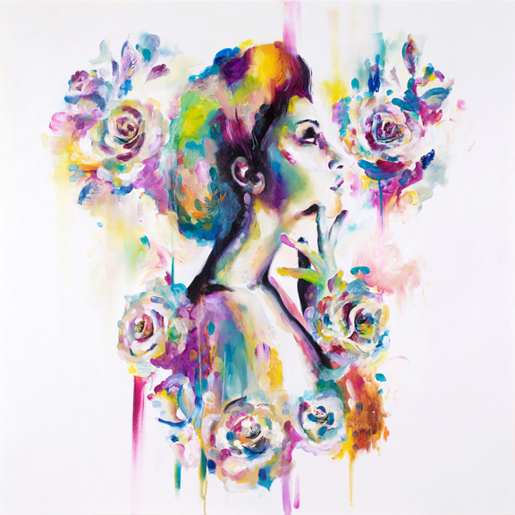 'Opium II' Opium I & 11 - Opiates remove feelings of pain and replace with feelings of euphorea. This set of 2 paintings are a play on colours and embelishments that make a replacement from traditional 'true to life' colours to a whimsical display of colours across the spectrum. A euphoric replacement.