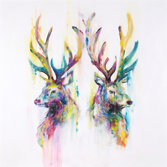 'Pride' One of my favorite animals brought to life in adherence to the style of the Phosphenes collection. Abstract in composition and playful in colour use.