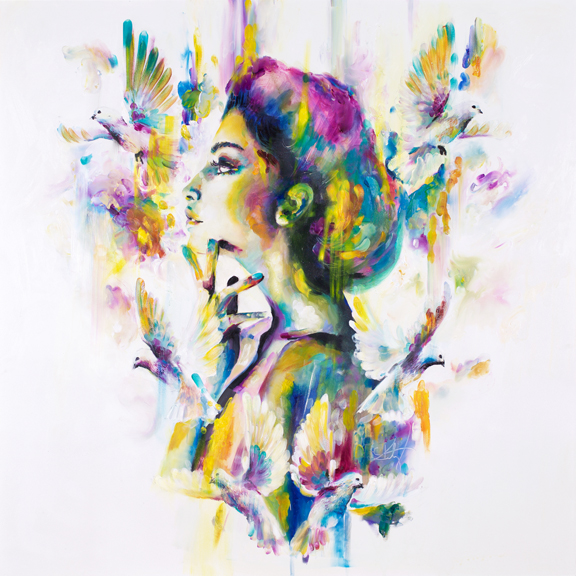 'Opium I' Opium I & 11 - Opiates remove feelings of pain and replace with feelings of euphorea. This set of 2 paintings are a play on colours and embelishments that make a replacement from traditional 'true to life' colours to a whimsical display of colours across the spectrum. A euphoric replacement.