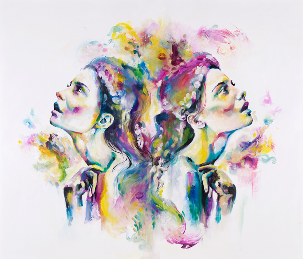 'Celstial' A modern take on the angelic inspiration of the old masters. Heads facing upward in relation to the sky/heavens, adorned with cherubs. Interweaving classic renaissance ideals with contemporary colours and styles.