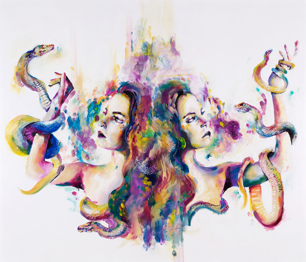 'Serpens' Coiled snakes with fine scales show a fun and bright reflection of the use of colour within this collection. Symbolism of snakes and slyness can be interpreted individually as the snakes coil around the subject engaging directly with the otherwise symmetrical figures, like the embellished brush strokes that create the abstract tendencies throughout the collection.