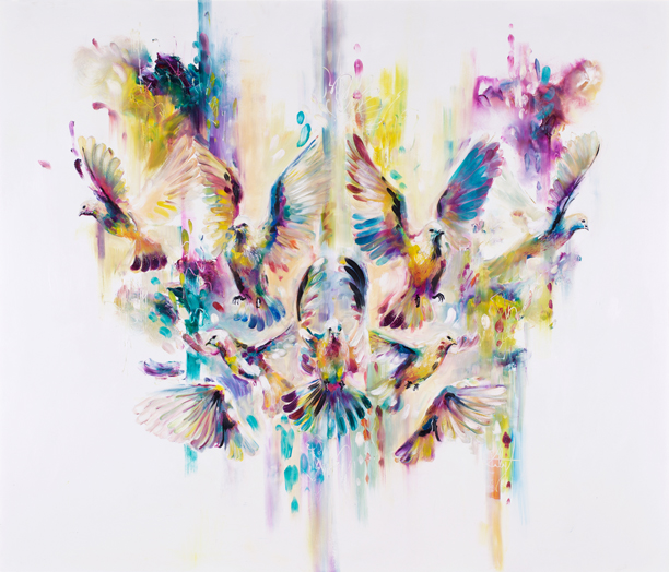 'Wingspan 'A fresh and lively piece, showing the erratic flight path of a set of released doves, controlled and refined by symmetry. Peaceful in subject and composition, but the nature of unguided wildlife in action supersedes this, which is evident in the capricious movements.