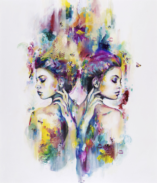 Bees have been subjects of heavy symbolism throughout the ages, adorning tombs and paintings with various meanings. Bees can symbolise life circulation and preservation. A lot of the basis of pollen circulation is from the natural seduction of vivid colours, also a basis for the work of the Phosphene collection.