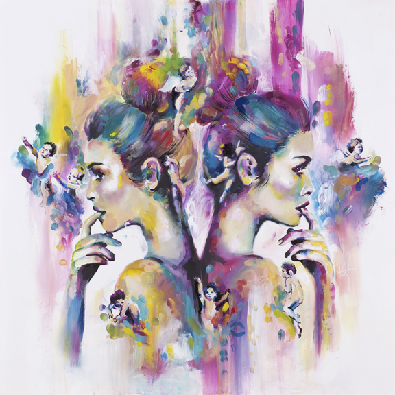 'Seraphic' One of my favorite animals brought to life in adherence to the style of the Phosphenes collection. Abstract in composition and playful in colour use.