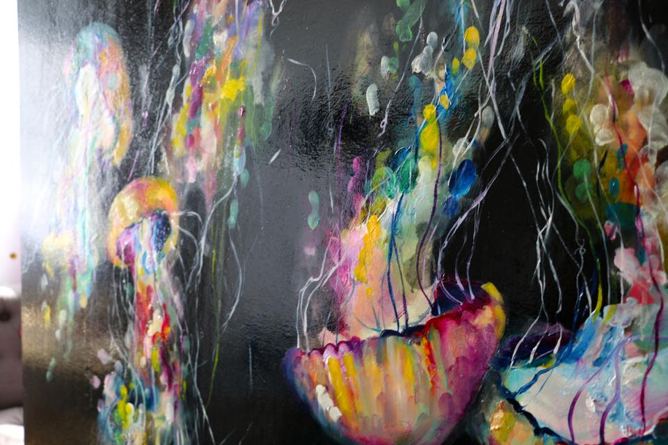 Jellyfish art oil painting katy jade dobson for Jelly fish art